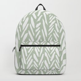 Light green herringbone pattern with cream stripes Backpack