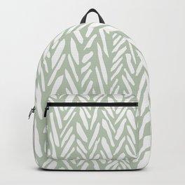 Light green herringbone pattern with cream stripes Backpack