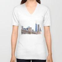brooklyn bridge V-neck T-shirts featuring Brooklyn Bridge by Christina Brunnock