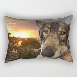 Dog German Shepherd and Sunset Rectangular Pillow