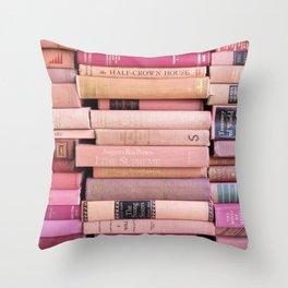 Vintage Pink Stacks Throw Pillow