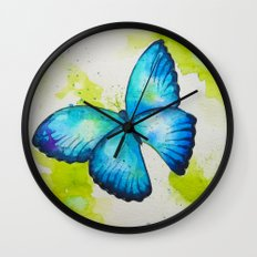 Blue Butterfly Watercolor Painting Wall Clock
