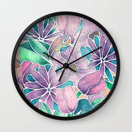 Blossoming - lilac, mint & aqua  Wall Clock