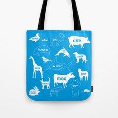 Animal Noises in Blue Tote Bag