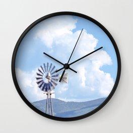 """Blue Windmill Blue Sky"" by Murray Bolesta Wall Clock"