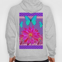 Fuchsia Orchid Flowers Turquoise Butterfly Patterns Hoody