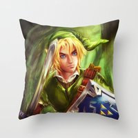 the legend of zelda Throw Pillows featuring Link - Legend of Zelda by Sanjin Halimic