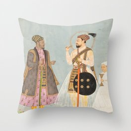 Muhammad Adil Shah of Bijapur and his African Prime Minister Ikhlas Khan  Throw Pillow