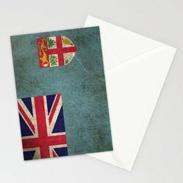 Old and Worn Distressed Vintage Flag of Fiji Stationery Cards