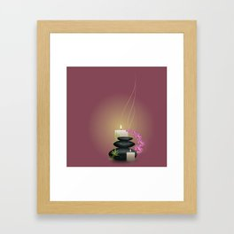 Pebbles with orchid Framed Art Print