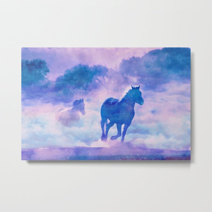 Horses run Metal Print