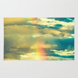 Rainbow Blue Sky Clouds Rug