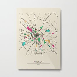 Colorful City Maps: Moscow, Russia Metal Print
