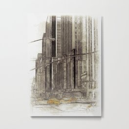 NYC Yellow Cabs Radio City Hall - SKETCH Metal Print