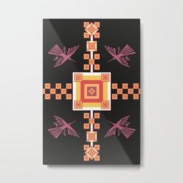 Peru: Nazca Lines (Condor) - Geometric Design (Black) Metal Print