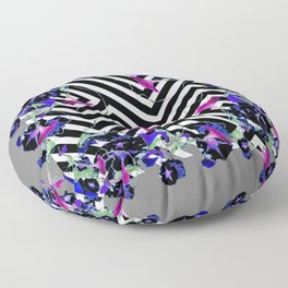 Geometric  black-White Morning Glories Grey Pattern Garden  Art Floor Pillow