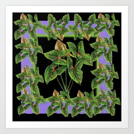 Decorative Green Tropical Botanical Foliage  Lilac-Black Art Art Print