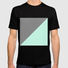 Grey and Mint Half Triangle MEDIUM Black Mens Fitted Tee