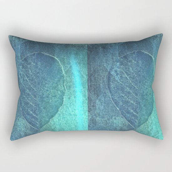 Light blue teal tonnes with an abstract leaf  Rectangular Pillow