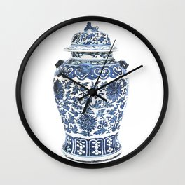 Blue & White Chinoiserie Porcelain Ginger Jar with Chrysanthemum Pattern Wall Clock