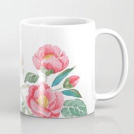 red camellia  flower white plum flower in blue vase Coffee Mug
