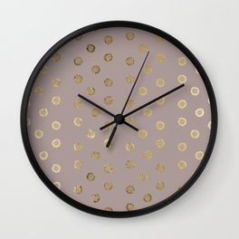 Elegant and Girly Faux Gold Glitter Dots Beige Wall Clock