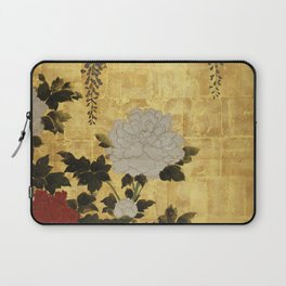 Vintage Japanese Floral Gold Leaf Screen With Wisteria and Peonies Laptop Sleeve