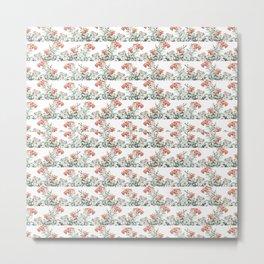 Photo Illustration Floral Motif Striped Design Metal Print