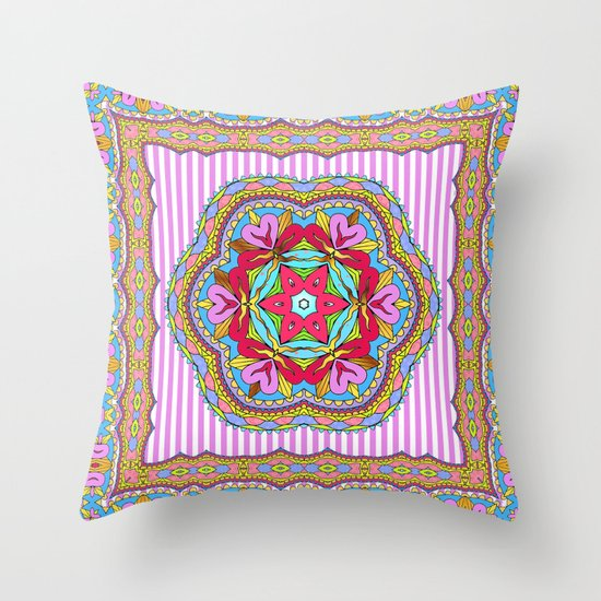 Mix&Match;  Pretty Pink Mandala Meditation pillow 03 Throw Pillow