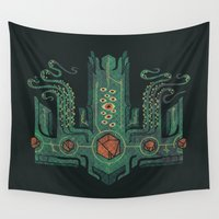 crown Wall Tapestries featuring The Crown of Cthulhu by Hector Mansilla