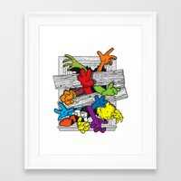 cartoons Framed Art Prints featuring Cartoons Attack by luis pippi