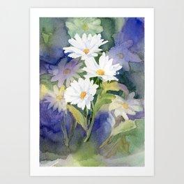 Daisies, watercolour Art Print