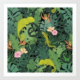 Chameleons And Salamanders In The Jungle Pattern Art Print