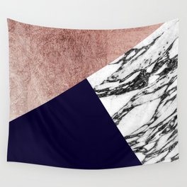 Modern Marble Rose Gold and Navy Blue Tricut Geo Wall Tapestry
