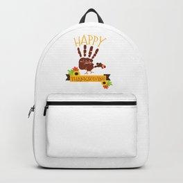 Hand Print Turkey Cute Happy Thanksgiving Backpack