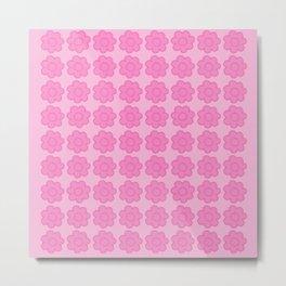 Beauty Powder Puff Pink - Light on Medium Stitched Flowers Metal Print