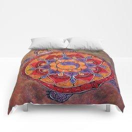 Autumn Turtle - yin yang mandala Comforters