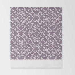 Decorative Floral Pattern 23 - Monsoon Purple, Bon Jour Gray Throw Blanket