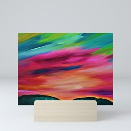 ROSY SKY OVER THE HILLS Mini Art Print