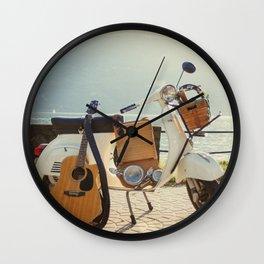 Italian Vespa on Como lake district Wall Clock