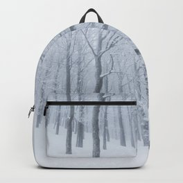 Snow covered frozen forest in winter Backpack