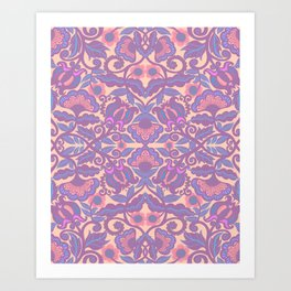 Purple Vines Folk Art Flower Pattern Art Print