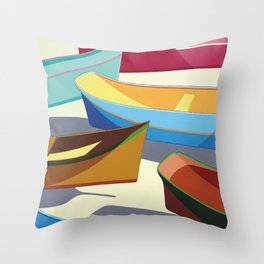 COLORED BOATS Throw Pillow