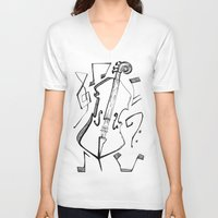 cello V-neck T-shirts featuring Dancing Cello by Ashley Grebe