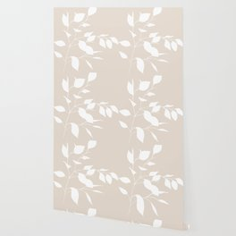 White & Buff Leaves Wallpaper
