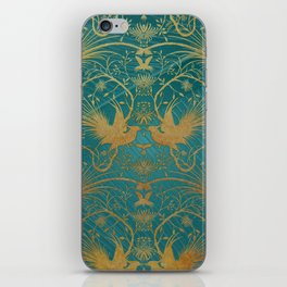 """""""Turquoise and Gold Paradise Birds"""" iPhone Skin"""