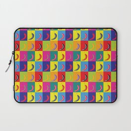 Retro Pop Art Chilli Peppers on Colourful Chequered Squares Laptop Sleeve