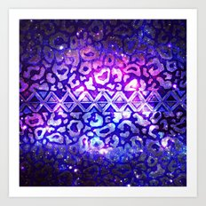 TRIBAL LEOPARD GALAXY Animal Print Aztec Native Pattern Geometric Purple Blue Ombre Space Galactic Art Print