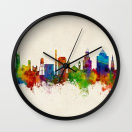 Durham North Carolina Skyline Wall Clock