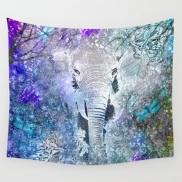 ELEPHANT IN THE STARRY LAKE Wall Tapestry
